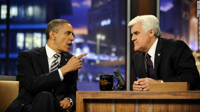 President Obama talks with the Tonight Show's Jay Leno on October 25, 2011