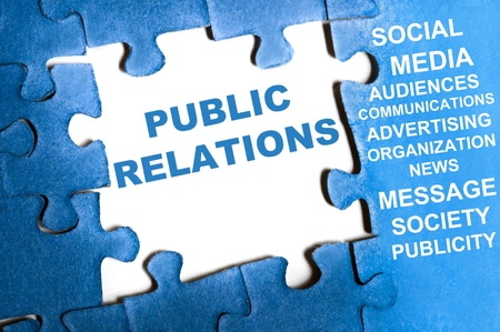 9628788 - public relations blue puzzle pieces assembled
